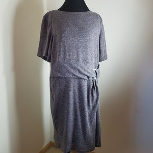 Ellen Tracy Grey Sweater Dress With Knotted Waist